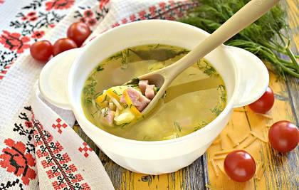 Суп с вермишелью и ветчиной